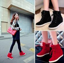 Ladies Womens Hidden Wedge Heel High top Trainers Boots Sports Running Shoes New