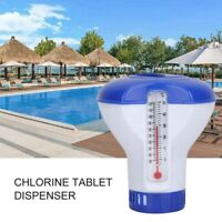 Swimming Pool Chemical Dispenser Chlorine Tablet Feeder w/ Floating Thermometer·