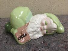 Vintage Ceramic Handpainted Garden Gnime-Kneeling/Sleeping-G reen
