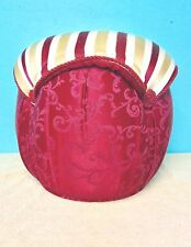 Footstool Ottoman Pouf Hassock Stool Red Cream Gold colorful home cloth padded