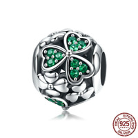 Xmas New 925 Sterling Silver Dazzling CZ Flower Crystal Beads Charm Fit Original