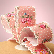 "5yds ""Gotha"" Rose Pink Polka Dot Floral Vintage 1"" Scalloped Edge Fabric Ribbon"