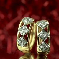 18k yellow white gold made with SWAROVSKI crystal huggies square grid earrings