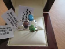 GENUINE TURQUOISE STERLING SILVER SET OF 3 SOLITAIRE STACKING RING SIZE O