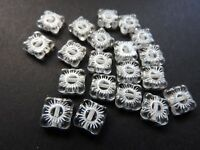 Czech pressed vintage look glass flat square flower beads 9 mm pack of 20