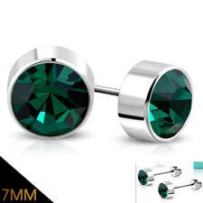 Edelstahl Ohrringe 7mm Ohrstecker Zirkonia Stainless steel earrings e-ebe056