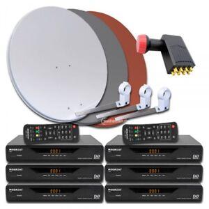 6 Teilnehmer Sat Anlage 6x Receiver Megasat 3600 V2 Octo LNB 80cm Spiegel