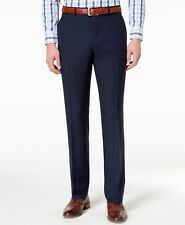 $210 PERRY ELLIS PORTFOLIO Men BLUE SLIM FIT FLAT FRONT SUIT DRESS PANTS 38W 34L