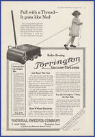 Vintage 1916 TORRINGTON Vacuum Sweeper Cleaner Runs Without Electricity Print Ad