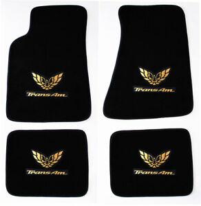 NEW! FLOOR MATS 1982-2002 PONTIAC FIREBIRD Embroidered Double Logo Gold set All