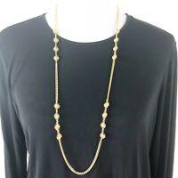 "Vintage Trifari Crown Long Flower Necklace Women Gold Tone Chain Link Signed 36"""