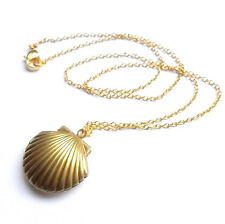 Chic Womens Charming Golden Sea Shell Mermaid Pendant Chain Necklaces Openable