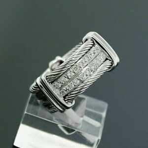 Men's Engagement & Wedding Wide Cable Rope Band Ring 1 Ct Diamond 14K White Gold
