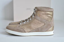NIB Jimmy Choo Tokyo Glitter Suede High Top Lace-up Sneakers Shoes sz 7.5 / 37.5