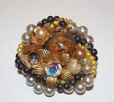 """Pretty Vintag ~Pearl~Art Glass~Gold Flower~Ab~Rhinestone~ Cluster Brooch- 1 1/2"""""""