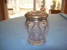 Vtg/Antique Art Nouveau Silver Repousse & Pressed Glass Vanity Dresser Candy JAR