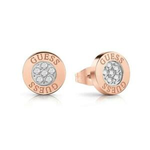 Guess Love Knot Crystal Button Rose Gold Plated Ladies Stud Earrings UBE78024