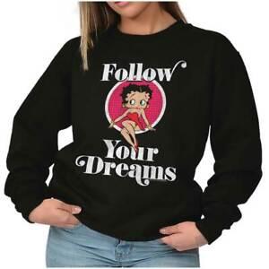 Betty Boop Follow Your Dreams Beauty Vintage Womens Crewneck Sweatshirt Pullover