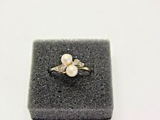 Feiner Damenrig - Goldring - Perlen - Diamanten - 333 er Gold  - S-113