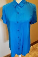 CHICOS Womens 0 Blue Short Sleeve Button Down Front Shirt 100% Rayon