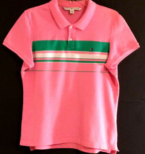 TOMMY HILFIGER RN 77806 Pink ¼ Button Short Sleeve Polo/Golf Shirt Women: LARGE