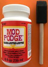 Mod Podge 8 oz Waterbase Sealer, Glue and Finish, Gloss + FOAM BRUSH CS11201