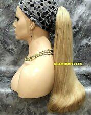 Human Hair Blend Long Blonde Mix Ponytail Hair Piece Extension Drawstring #16.22