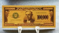 Collectable US American $100000 Dollar Gold Plated colour Banknote Novelty gift