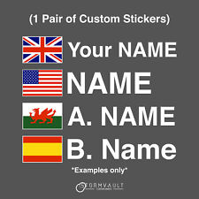 Motorsport UK Driver Name stickers with flags - MSA race rally car decal vinyl