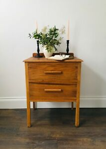 Vintage small chest of drawers, natural wood, waxed.