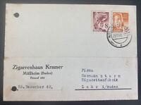 1948 Mullheim Baden Germany Typewriter Postcard Cover Postwar Stamp