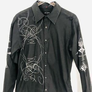 Raw 7 Mens Embroidered Shirt Large Black Rockabilly Snap Buttons Eagle Crest