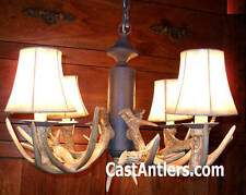 Cast Rustic Cabin Deer Antler Chandelier Pendant 4 Light