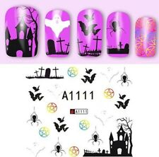 Nail Art Water Decals Stickers Halloween Spider Bats Scary House Grave (A1-111H)