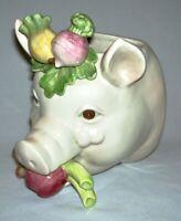 "FITZ & FLOYD ~ Early Porcelain ""PIG"" WALL POCKET w/Garden Vegetables (1983)"