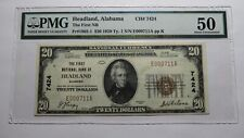$20 1929 Headland Alabama AL National Currency Bank Note Bill Ch. #7424 AU50 PMG