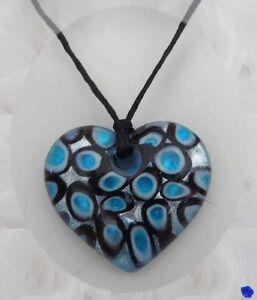 Pendentif Coeur Lilo Argent Bleu Noir Blanc Verre Soufflé Style Murano