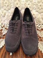 Clarks Bendables Womens Oxford Heels Size 7W Gray Suede Leather Upper Lace Up