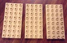 Lot of 3 BEIGE, LIGHT TAN Lego Duplo Base Plates 4 x 8 Stud Baseplates Platforms