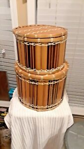 """ROUND DRUM STYLE """"BAMBOO"""" CONTAINERS W/ CLOTH INSERT & LIDS"""
