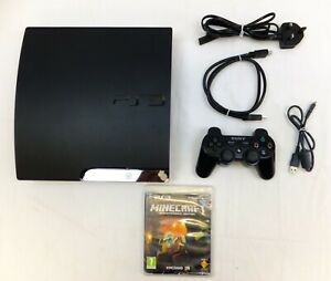 PLAYSTATION 3 PS3 SLIM 100GB SSD CONSOLE PACKAGE WITH MINECRAFT - NO CONTROLLER