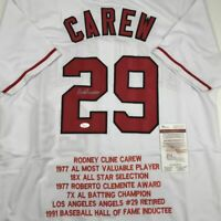 Autographed/Signed ROD CAREW Los Angeles White Stat Baseball Jersey JSA COA Auto