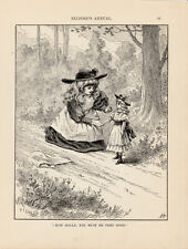 VICTORIAN GIRL WITH DOLL ANTIQUE DOLL ART PRINT 1889