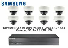 Samsung Wisenet 8 Dome CCTV Kit Camera IR AHD 4mm 1080p 8CH RealTime DVR 2TB HDD