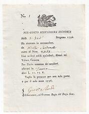 Q415-REP.VENETA-BERGAMO 1796 RICEVUTA ZANICA