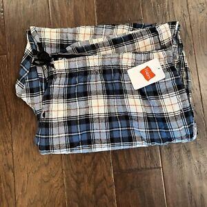 Hanes Mens Blue Flannel Plaid Pajama Pants Drawstring And Elastic Waist Size 4XL