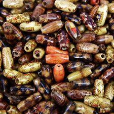 50 X cuentas de madera mix ~ ~ patrones mixtos 15x7mm nuevo W266 étnico granos de arroz