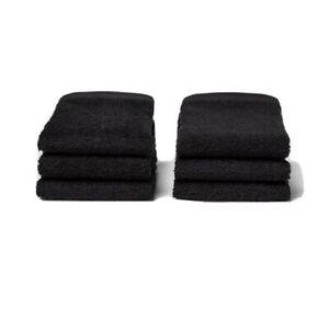 Room Essentials 6 Pack Black Washcloths Set