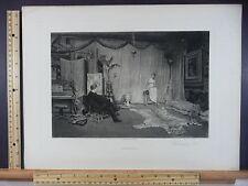 Rare Antique Original VTG Finding A Pose J L Webb Gravure or Engraving Art Print
