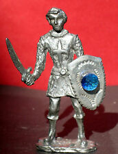 Unique Pewter Renaissance Crusader w/Sword & Shield w/Multifaceted Crystal Orb